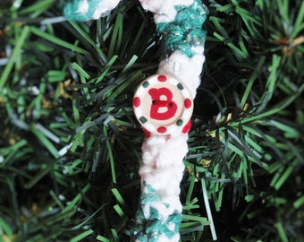 Personalized Crocheted Candycane Christmas Tree Ornament Monogram Initial B Handpainted Wooden Holiday Decoration By Distinctly Daisy