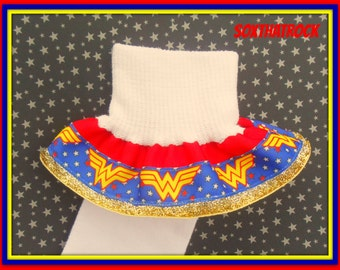 Wonder Woman inspired girls Double Ruffle Glitter Socks..you pick Size and Solid Ribbon Color...matching hair bow also available