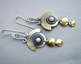 Long, dangling sterling silver, brass and freshwater pearl art deco earrings