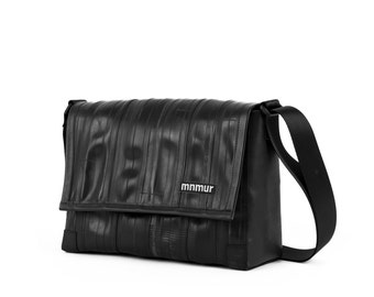 "Small Black Messenger Bag - made from recycled inner bike tubes // Fits up to a 13"" laptop // Vegan and ecofriendly"