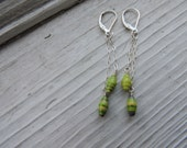 Green paper bead earrings