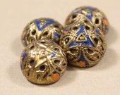 Antique Brass Mirror Back Buttons 4 Blue Orange Enamel Tight Top Filigree Brass Buttons