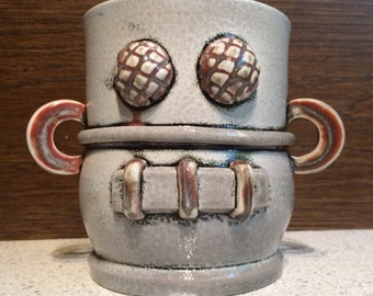 RoPot amBot -- scratch and dent clearance -- Robot Cup Vase Beer Mug One Of A Kind Hand Made