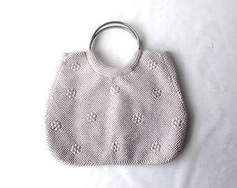 vintage 1960's blush pink white pearl beaded purse round silver handles handbag formal evening retro fashion accessories accessory womens