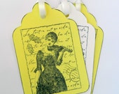 Music Gift tags,Set of Four hand stamped Violinist Tags