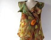 Felted vest  women wool  vest seamless yellow mustard olive fall  tunic felt vest autumn winter vest by Galafilc
