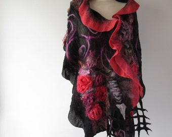 Nuno Felted scarf, Red   ruffle shawl, Nuno felted  stole,  Red and Black Wool scarf, Floral Rose shawl ,
