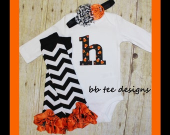 Baby girl halloween outfit personalized with initial-bodysuit, headband, leg warmers