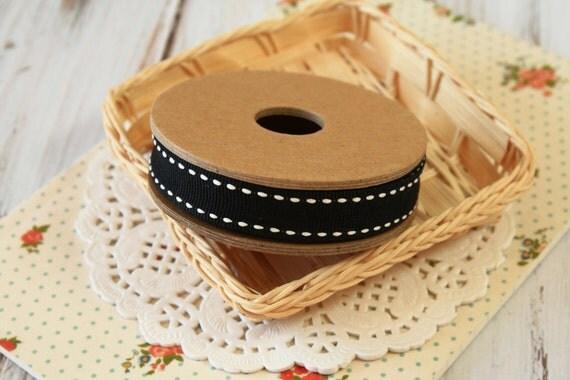 plain BLACK with Cream Stitches ribbon