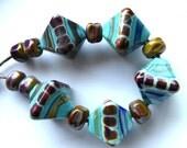 Destash Lampwork Beads x 5 Rustic Aloe Diamonds Handmade Glass by Radiant Mind