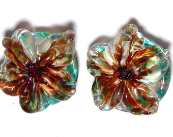 REDUCED Lampwork Bead SPECKLED POPPY Sculpted Flower Handmade Glass by Radiant Mind