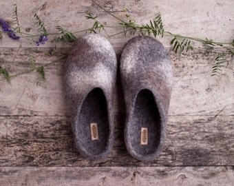 Grey felted slippers women spotty organic wool house shoes textured dark grey wool clogs eco friendly unisex home shoes - handmade to order