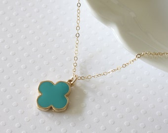 Turquoise Clover Necklace - Gold Filled Necklace - Blue Clover Necklace - Celebrity Inspired - Everyday Jewelry - Blue Clover Necklace