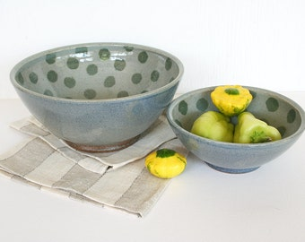 Pair of rustic stoneware serving bowls. Mixing, kitchen, food prep, polka dots, green, blue, gradiant, celadon, hand painted, wheel thrown