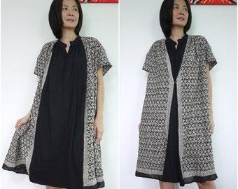 Limited Edition...Oversize Hand Block Print Light Cotton And Black Jersey Cotton Oversize Women Dress Top Tunic Dress