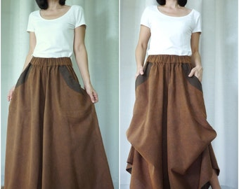 PLUS SIZE Stonewashed Rustic Brown Medium Weight Cotton Super Wide Legs Funky Bell Bottom Pants With 2 Pockets And Elastic Waist - SM683C