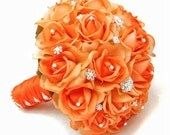 Real Touch Roses Bridal Bouquet with Rhinestones Pearls - Customize and Choose Your Color of Real Touch Roses