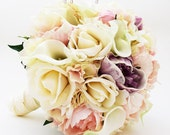 Reserved - Bridal Bouquet Real Touch Peonies Calla Lilies Hydrangea Ivory Blush Lavender - Custom Wedding Colors - Real Touch Bouquet