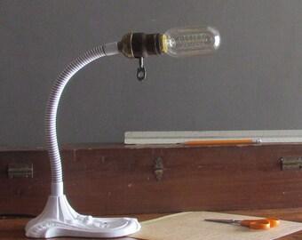 industrial gooseneck lamp - vintage desk Lamp - Edison - industrial decor
