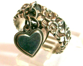 Uncas Sterling Forget Me Not Floral Flowers Band Ring with Dangling Hearts Size 8