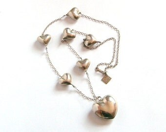 Sterling Silver Puffy Hearts Necklace Taxco Mexico