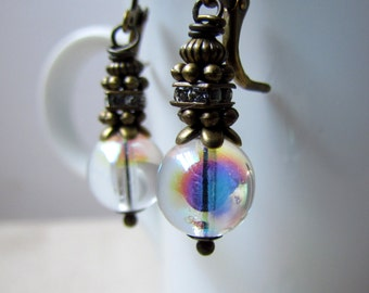 Bubble Earrings, Czech Glass, Crystal Earrings, Antiqued Brass, Soap Bubble, Glass Earrings, Wire Wrapped, Everyday Wear, Gifts for Her