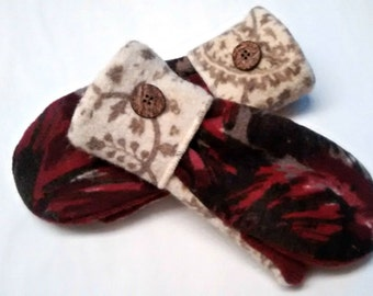 Sale Ruby Red, Cream and Paisley Mittens made from recycled sweaters and lined with soft fleece. Ladies Medium.