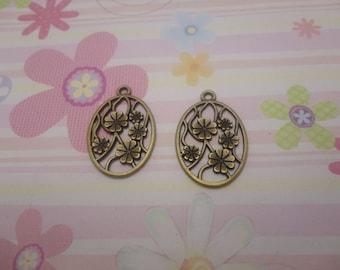 10pcs antique bronze flower findings 32mmx22mm