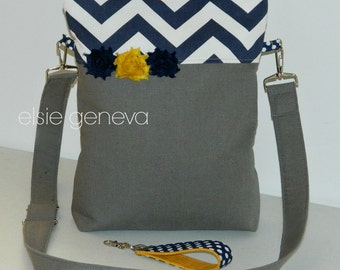 Navy Blue Chevron  Mustard Yellow and Solid Grey or Choose Any Fabric in My Shop Tall Purse Hipster Bible Cross Body Knitting Project Bag