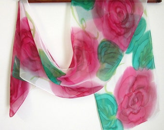 Handpainted Floral Silk Scarves - Gift For Mum - Red Roses Scarf