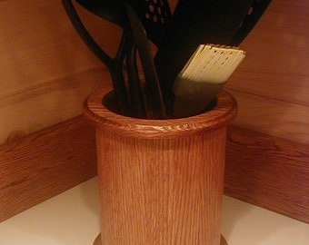 Kitchen Countertop Hardwood Utensil Caddy