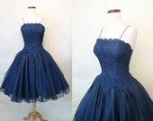 Stunning 1950's/1960's Deep Blue Lace and Silk Chiffon Cocktail Party Dress Rockabilly VLV Pinup Girl Vixen Cupcake Prom Wedding Size-Small