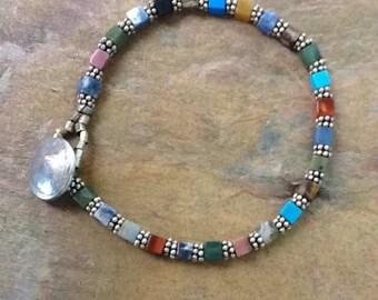 Colorful Multi-Stone Bracelet, Colorful Bohemian Bracelet, Multicolor semi-precious stone bracelet, Colorful Casual Bracelet