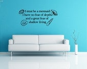 I Must Be A Mermaid.... Inspirational Beach Wall Quotes Words Mermaid Decals Ocean Lettering