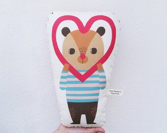 Bear with Love Frame Linen-Cotton Canvas Personalized Pillow - Stuffed Animal - Cute Animal Cushion - Bear Shaped Pillow