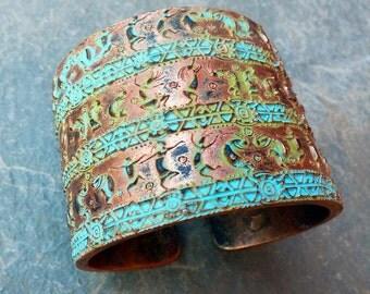 Kokopelli polymer clay bracelet cuff