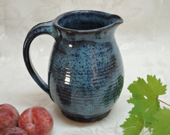 Stoneware Blue Pitcher
