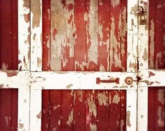 Red Barn Door Photograph, Rustic Barn Door, Rustic Red Decor, Farmhouse Decor, Red Decor, Country Barn Door, 8x10