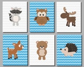 Woodland Nursery Wall Art Forest Animals Art Kids Wall Art Boys Room Decor Deer Raccoon Bear Hedgehog Owl Moose Set of 6 Art Prints
