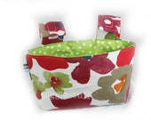 "READY to ship -- ""Artsy Flower"" Girls Handlebar Basket, with Lime Green, White Dot Interior"