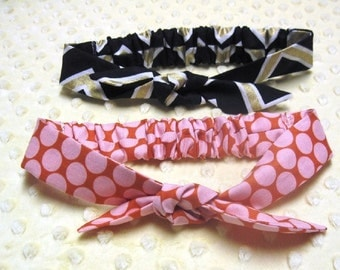 2 yr to adult top knot cotton headband with elastic