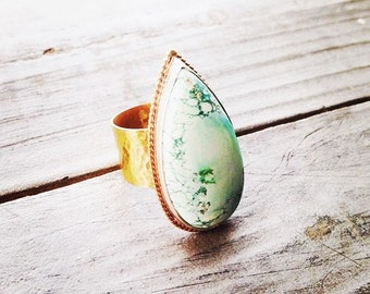 Mixed Metal Turquoise Gemstone Statement Ring in Sterling Silver and Gold Filled