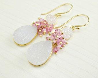 White Druzy Earrings, Pink Topaz Cluster, Pink Zircon, White Gold Earrings, Druzy Gold Dangle, Wire Wrapped Pink White Bezel Gemstone