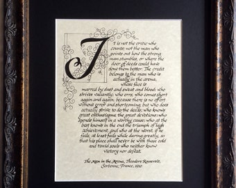 Reservedfor Krista/Matted, 8x10 print of orignal hand lettered/The Man in the Arena