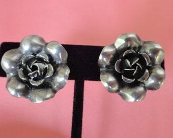 STERLING ROSE Earrings Screwback Vintage Retro