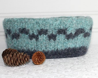 Blue Knit Felted Storage Basket, Small Wool Basket in Blue Gray, Boiled Wool Storage Basket, Wool Felt Storage Basket, Blue Gray Felt Bowl