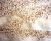 Victorian Sheer, Fine Batiste Ecru Lace Trim with Deeper Beige Scalloped Embroidered Border - Antique Pullwork Embroidered Edging