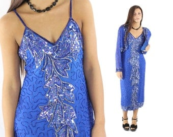Vintage 80s Sequined Cocktail Party Dress Jacket Bolero Evening Gown Fall Fashion 1980s Medium M Bright Blue Beaded Flapper Dress FIERI