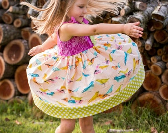 Girl's Shoulder Tie Swing Twirl Dress Tunic
