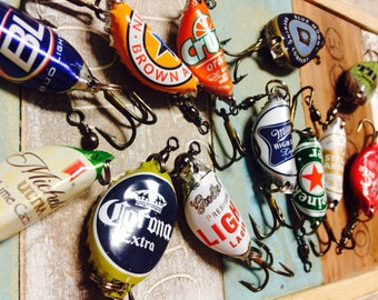 6 pack beer caps - fishing lures - groomsman gifts - recycled - fishing hooks